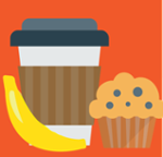 Coffee cup, banana, and blueberry muffin icon