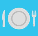 dinner plate, knife, and fork icon
