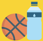 basketball and water bottle icon