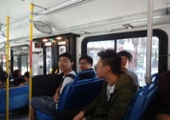 students riding the county metro bus