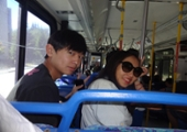 students on the metro bus