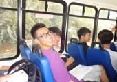 students on the bus ride to natural bridges